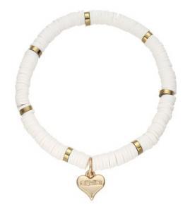 Armband, Elastiskt med platta vita och guldpärlor - Gemini