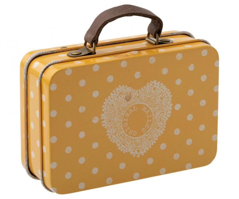 Suitcase, metal - Yellow dot