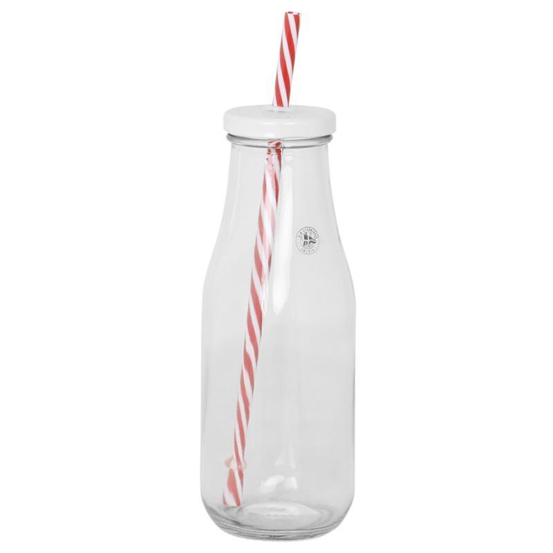 Glasflaska med sugrör & vitt lock, stor