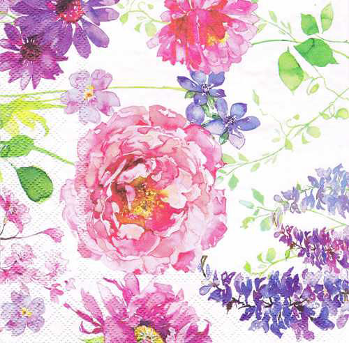 Ambiente Servetter - Pink Roses White- Kaffe