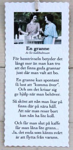 Diktkort - En granne