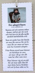 Diktkort - Ett adoptivbarn