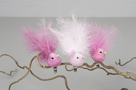 Fågel med fluffig stjärt - för dekoration- Ljusrosa