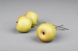Äpple grön/gult, litet med tråd (dekoration)