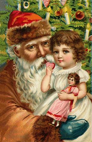 Kort från Sköna Ting - Jul - Paketkort, Jultomte och flicka