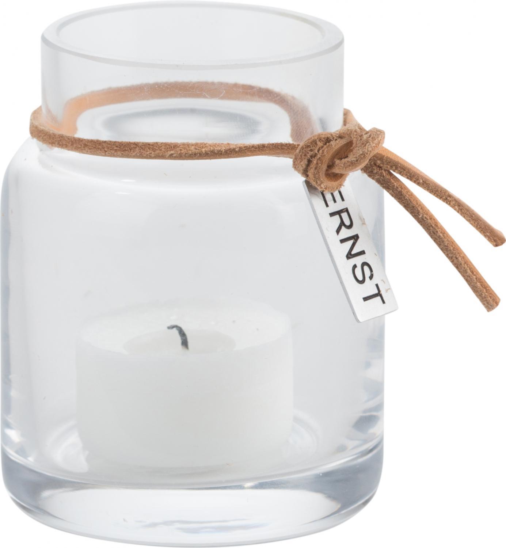 ERNST Vas/värmeljuslykta i glas, H 8cm