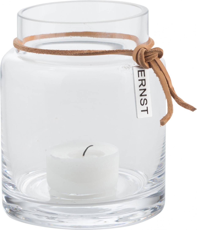 ERNST Vas/värmeljuslykta i glas, H 10cm