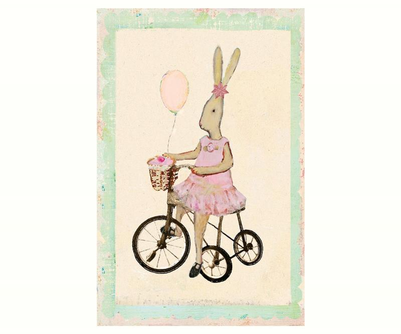 Kort - Maileg Rabbit girl on bike