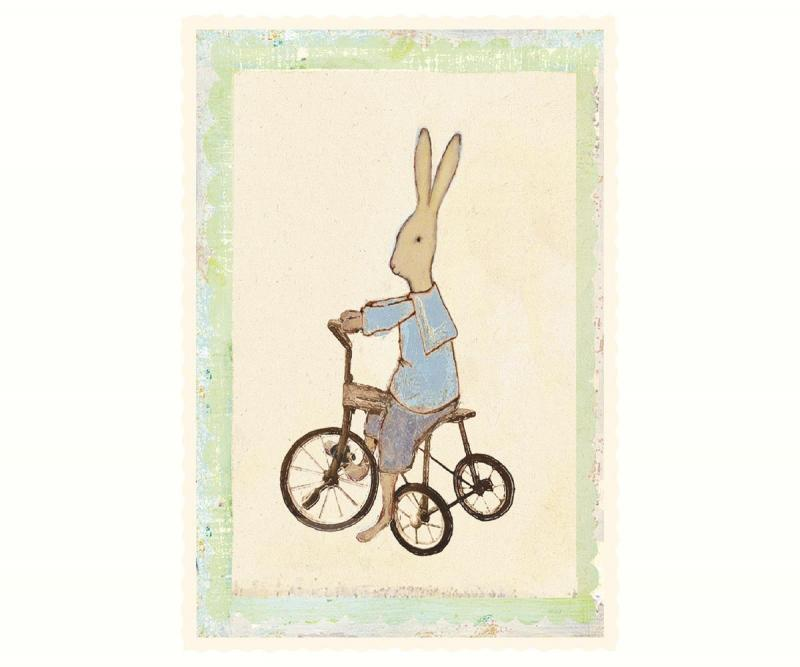 Kort - Maileg Rabbit boy on bike