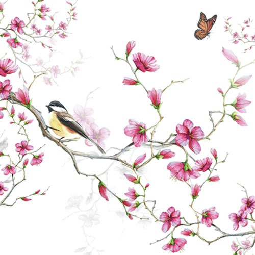 Ambiente Servetter - Bird & Blossom white
