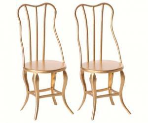 Maileg, Stol i guld - vintage chair gold