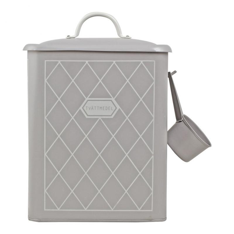 Tvättmedelsburk i plåt med skopa, Rut