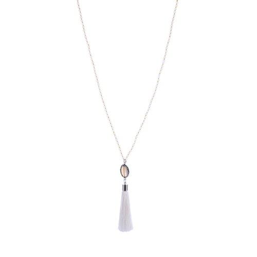 Gemini Halsband, vit/guld färgadepärlor med tofs - vit