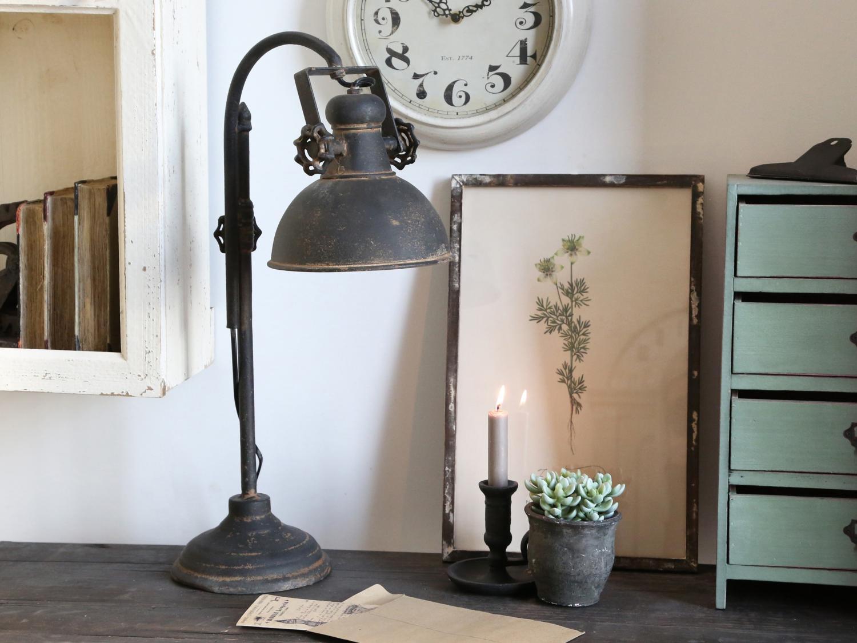 "Chic Antique Bordslampa ""Factory"" - industristil"