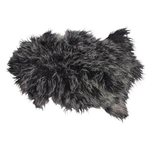 Tibetansk skinnfäll/fårskinn, svart/vitt melerad