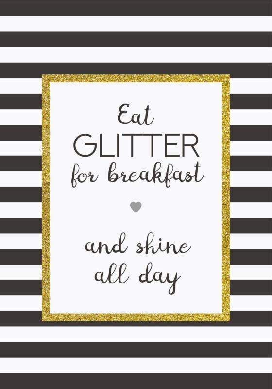 "IB Laursen Metall Skylt ""Eat glitter for breakfast"""
