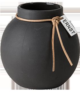 ERNST Rund vas i stengods med läderband, H 10cm (mörkgrå)