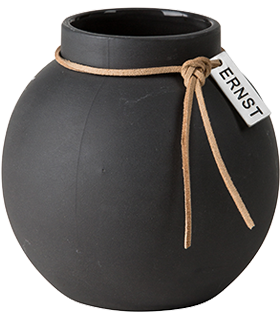 ERNST Rund vas i stengods med läderband, H 14cm (mörkgrå)