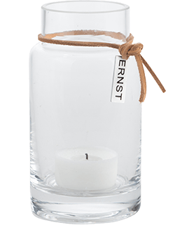 ERNST Vas/värmeljuslykta hög i glas, H 12cm