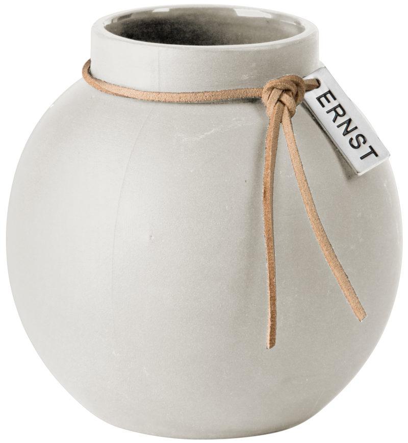 ERNST Rund vas i stengods med läderband, H 14cm (vit)
