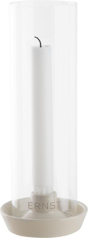 ERNST Ljusstake/ljuslykta, stengods med glas, Vit