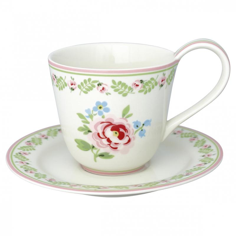 GreenGate kopp med fat, Lily Petit White