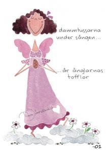 Vykort Dammtussarna under sängen (rosa klänning) - TJ Produktion