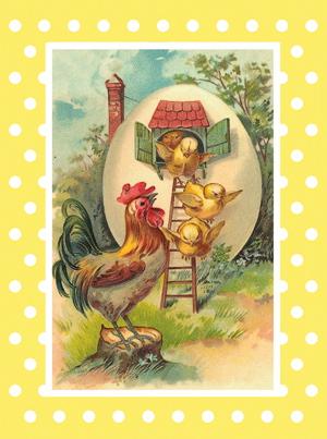 Sköna Ting, Påsk - Vintage dubbelt kort