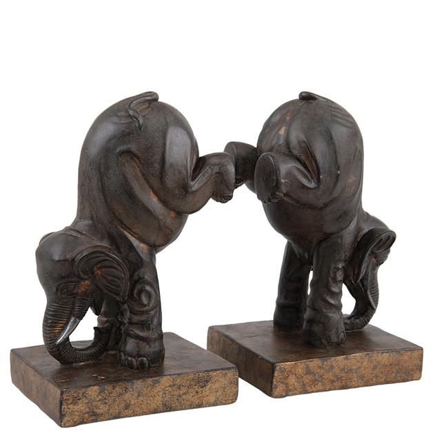 Bokstöd med elefanter (bruna), Miljögården