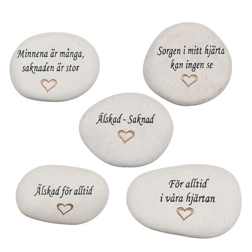 Sten, graverad med budskap (sorg)