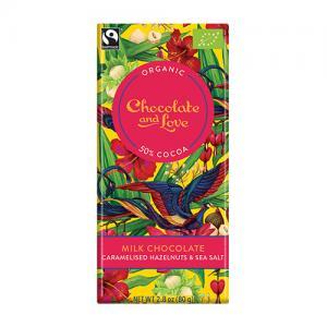 Ljus choklad 50% - med karamelliserade hasselnötter och havssalt