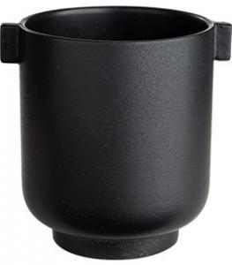 ERNST Kruka med öra, svart stengods (Höjd 18 cm)