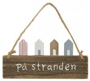 """Träskylt med små hus """"På stranden"""" - Ib Laursen"""