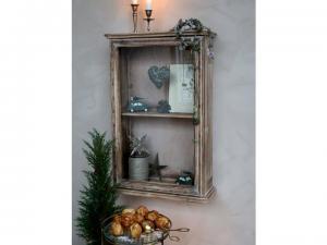 Rustikt väggskåp i trä med vitrin - Chic Antique