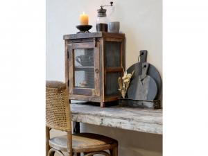 Rustikt skåp i trä med nät, Grimsaud - Chic Antique