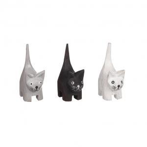 Stående Katt i trä - Svar/vit /grå