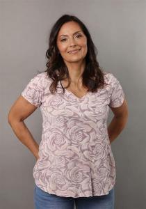 Blommig t-shirt med V-hals, Rosa (Tuva) - Mix by Heart