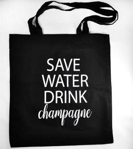 Tygkasse: Save water, drink Champagne - Mellow Design