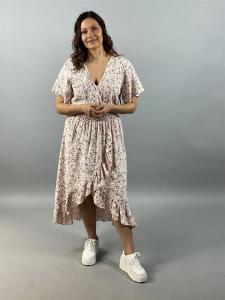 Småblommig klänning med volang, rosa (Clara) - Mix by Heart