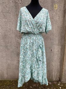 Småblommig klänning med volang, mintgrön (Clara) - Mix by Heart
