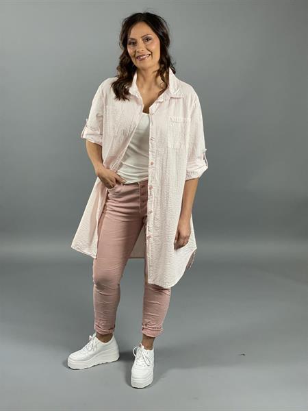 Randig långskjorta, rosa-vit (Tyra) - Mix by Heart