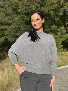 TILDA Stickad tröja med pingvinärm, grå - Mix by Heart