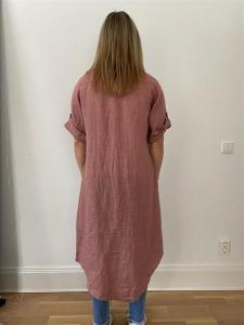 Lång linneskjorta, rosa (Doris) - Mix by Heart