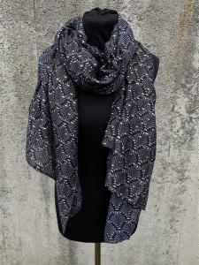 Sjal, mönstrad i svart/grått med gulddetaljer - Mix by Heart