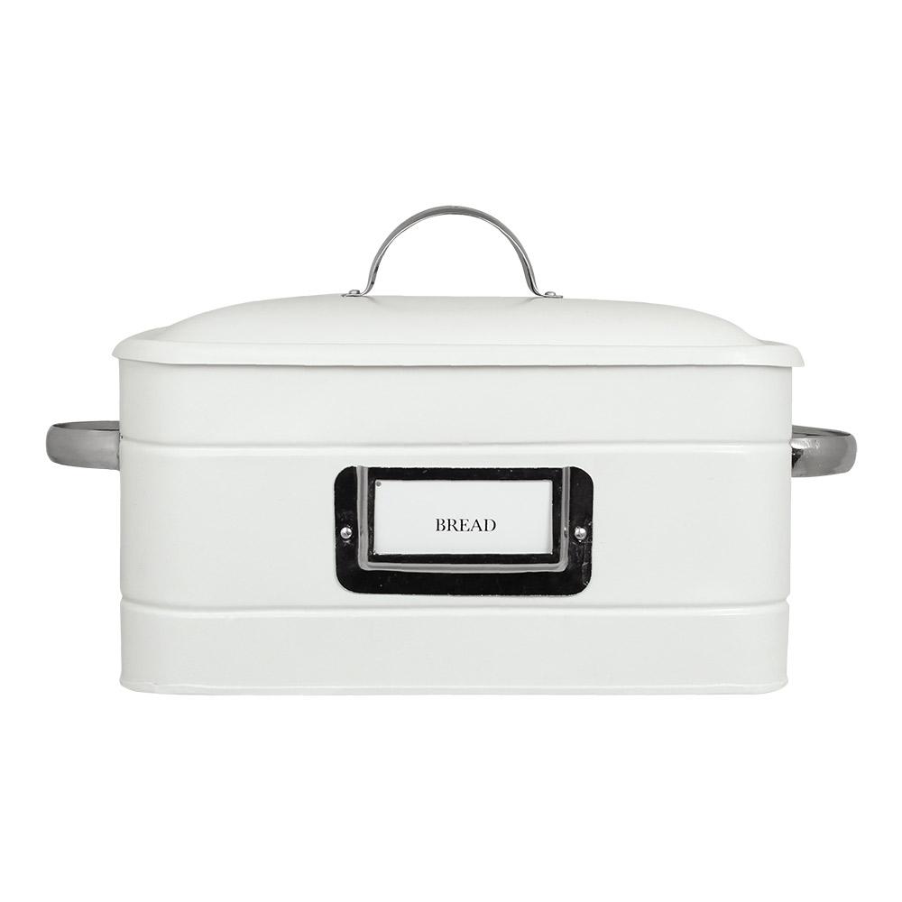Brödbox i plåt, vit/nickel - Hilma