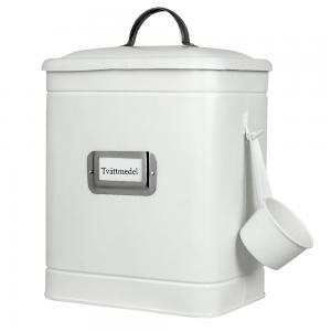 Tvättmedelsburk i plåt med skopa, vit/nickel - Hilma
