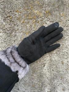 Handskar med fuskpäls, Svart (Pia) - Mix by Heart