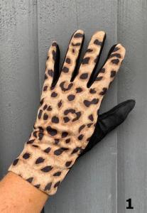 Handskar med leoprint, Svart/Kamel (Ditte) - Mix by Heart
