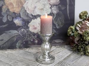 Ljusstake för blockljus, fattigmanssilver (Höjd: 19 cm) - Chic Antique