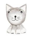 Magnet i trä - Katt (grått huvud)